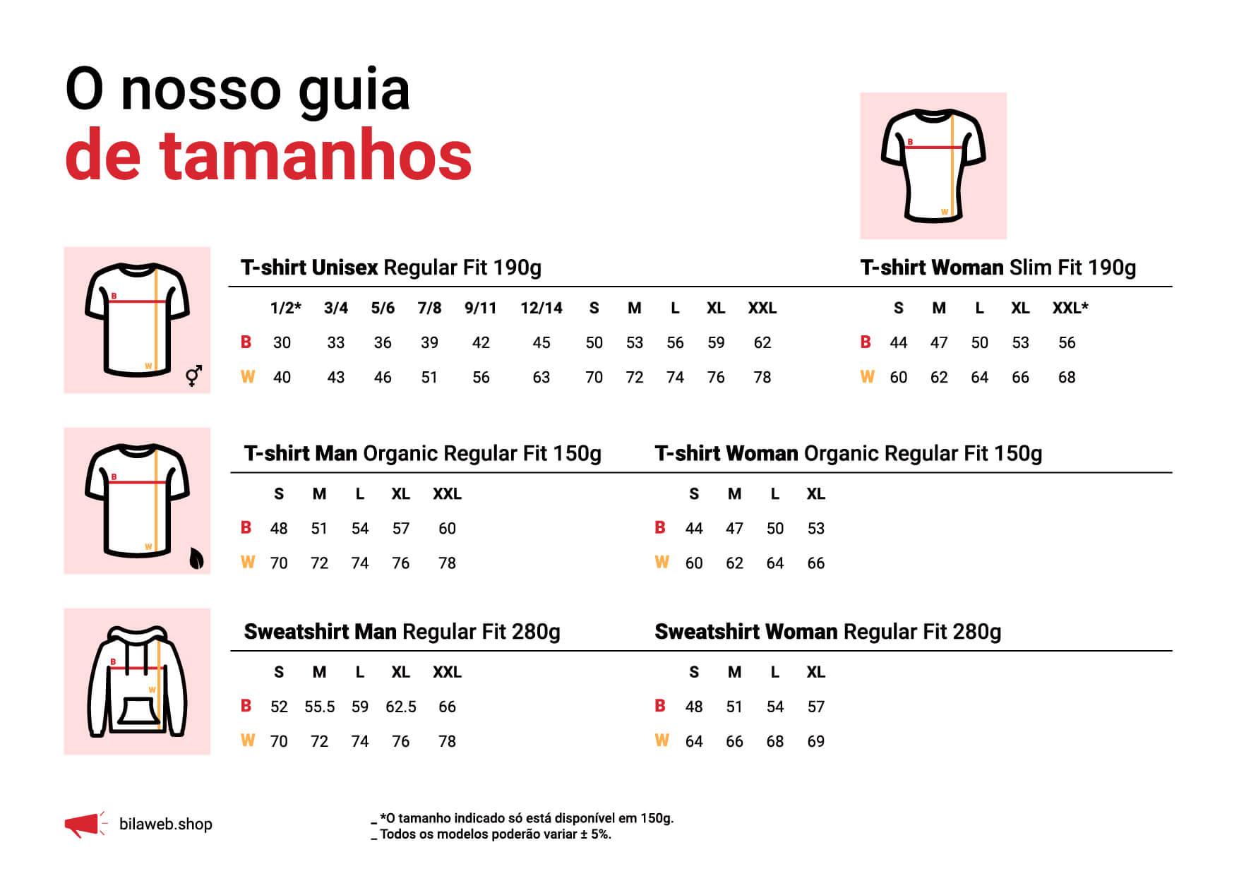 Guia de Tamanhos - bilaweb.shop
